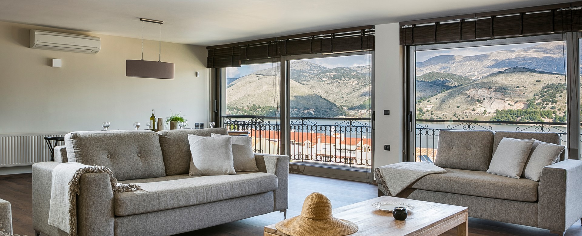 Panoramic views of the bay and surrounding hills inside or out on the balcony of Marina Penthouse Apartment, Argostoli, Kefalonia, Greek Islands