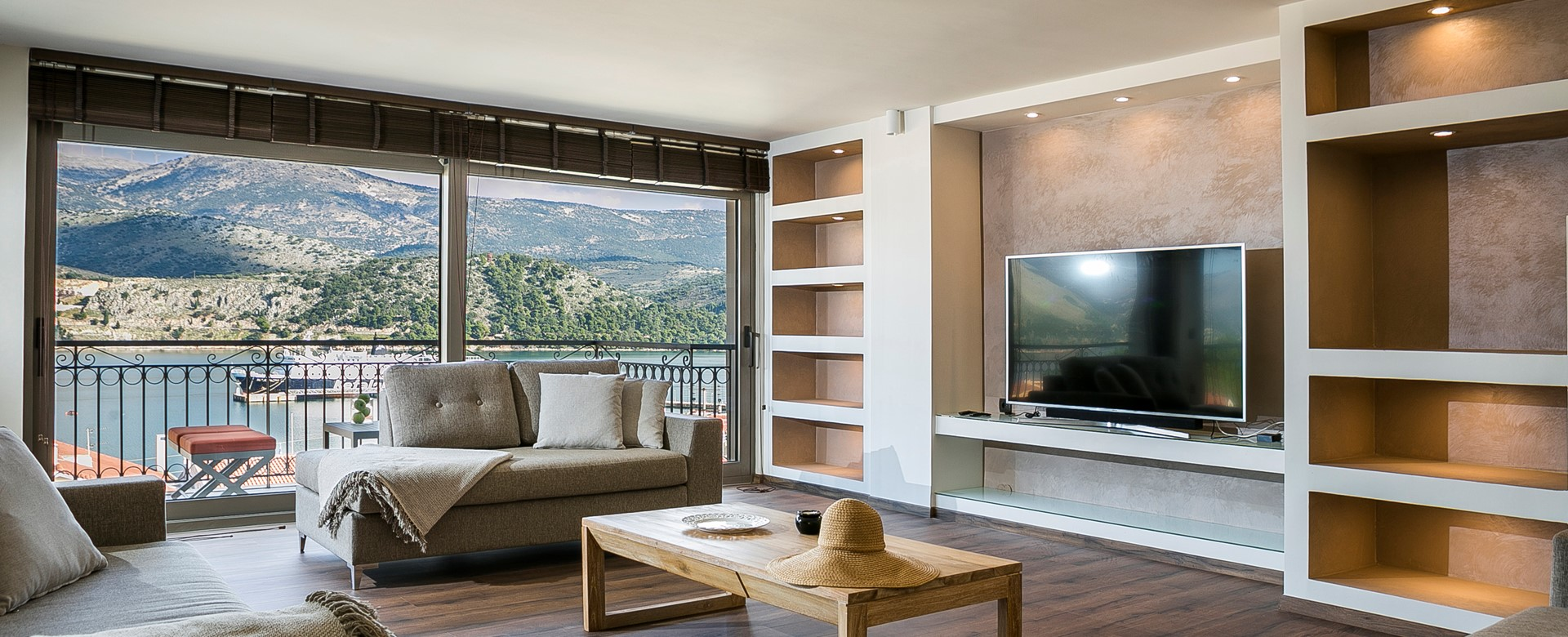 Modern, minimal, clean and clutter free family lounge space in Marina Penthouse Apartment, Argostoli, Kefalonia, Greek Islands