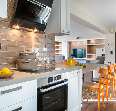 Modern clean and spacious open plan kitchen and living space inside Marina Penthouse Apartment, Argostoli, Kefalonia, Greek Islands