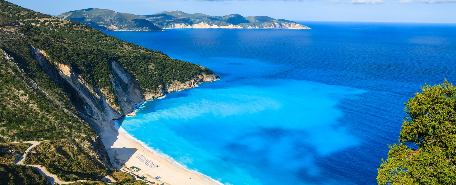 View of beautiful Myrtos bay and beach on Kefalonia island, Greek Islands