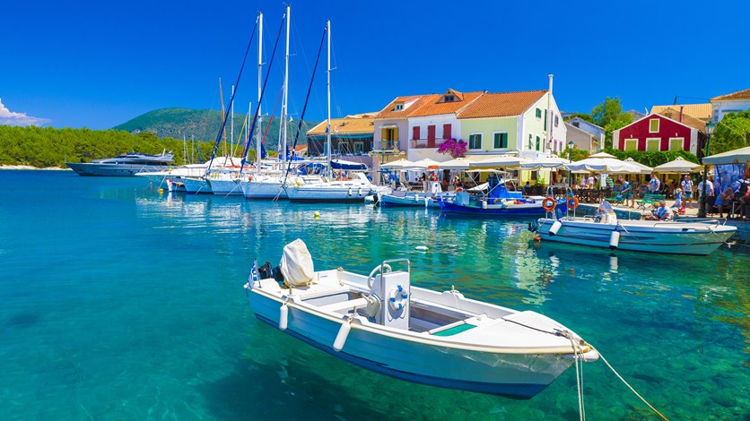 Boats for hire and charter in Fiskardo village harbor, Kefalonia, Greek Islands and boat hire