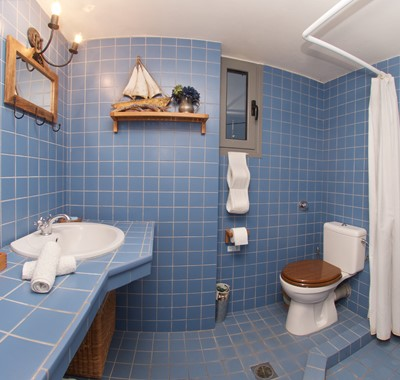 Colourful family wetroom with shower at Villa Christianna, Pessada, Kefalonia, Greek Islands